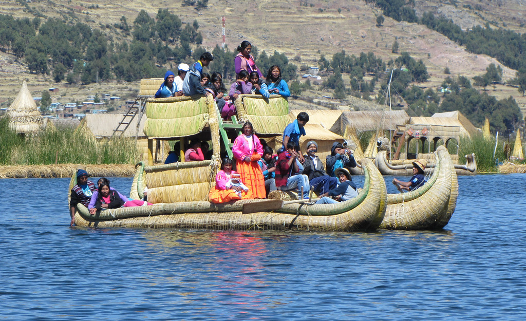 Native water taxi on Lake Titicaca, Peru, at an elevation of 12,580 feet the world's highest navigable lake. - William Bezdek