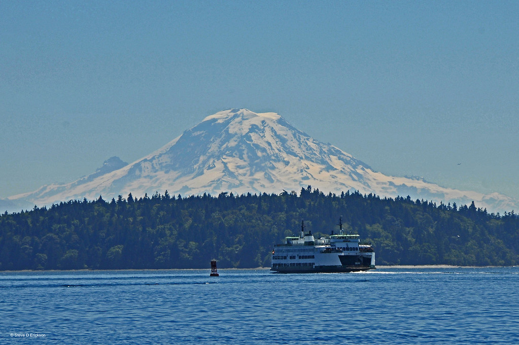 Puget Sound waters; as we passed through Rich Passage, located just south of Bainbridge Island, SW of Seattle, the Bremerton Ferry passed us with Mount Rainier in the background - Steve Erickson