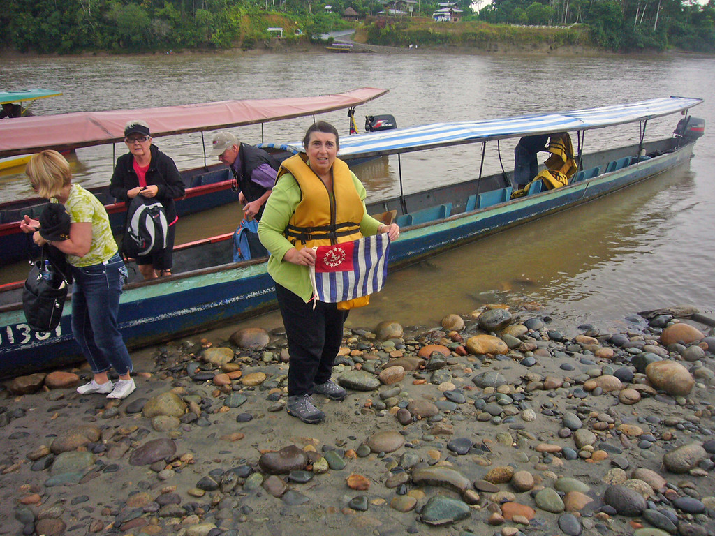 Water logged P/DLt Marilynn Bezdek AP displaying the USPS Ensign on the Napo river in the Ecuadorian rain forest - William Bezdek