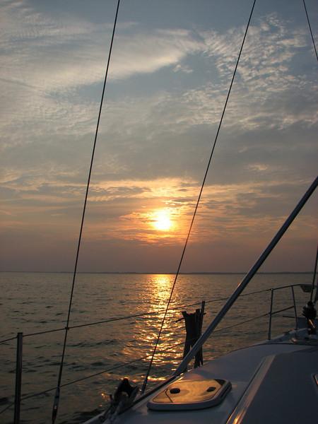 Returning to Dock of the Bay Marina at sunset in Sandusky Bay, Lake Erie