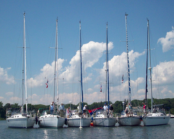 Summer Raft-Up at Greenwich Cove, Captain Harbor, Greenwich, Conn.