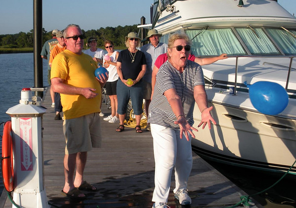 Squadron members enjoy old fashioned balloon toss at Labor Day Rendezvous in Cape Charles, Va.